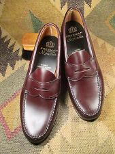 Vintage FREEMAN GENUINE MOCCASIN Burgundy Penny Loafers Size 9 B MADE IN USA