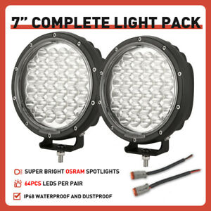 NEW Slim 7inch OSRAM LED Driving Lights Spotlights Black Headlights SUV 4WD ATV