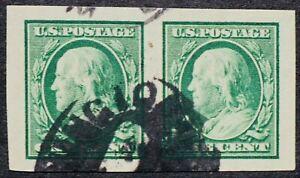 U.S. Used #383 1c Green Franklin Horizontal Pair. Superb Jumbo Pair!