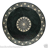 4'x4' Marble Dining Table Top Mother of Pearl Inlay Marquetry Floral Home Decor