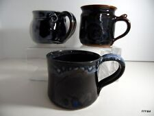 Hand Thrown Trio of Mugs Ceramic Blue Brown Artist Market LOT of 3