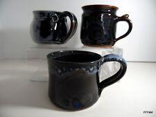 Hand Thrown Trio of Mugs Ceramic Blue Brown Artist Market LOT of 3