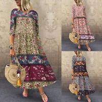 Mode Femme Loisir Demi Manche Imprimé Floral Coton Couture Plage Robe Dresse