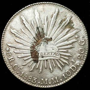 1883 Ca MM Mexico Silver 8 Reales Chihuahua - Extra Fine - No Reserve