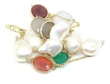 "Freshwater Pearl,Opal & Chalcedony 36"" Necklace,14k Yellow Gold"