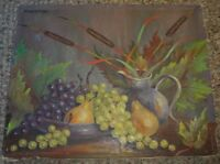 Vintage Fruit Grapes Pitcher Still Life Oil Painting Signed WERNER DEMUTH