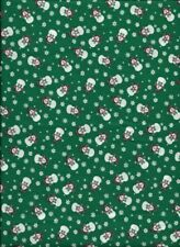 New Christmas Snowmen and Snowflakes on Green 100% Cotton Fabric by the 1/4 Yard