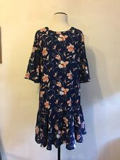 Vila, Beautiful Navy Floral Bell Sleeve Occasion Wedding Lined Dress. L. BNWT