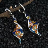 Bohemian 925 Silver Spiral Flower Hook Dangle Drop Earrings Women Ear Jewelry
