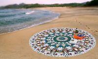 Indien Paon Tenture Murale Mandala Coton Tapisserie Rond Plage Yoga Tapis Jeté