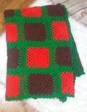 Vintage Lap Blanket Throw Afghan Granny Square handmade Green Red Brown 59 x 79