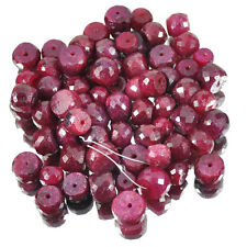 590 CT//69 PCS NATURAL RUBY DRILLED BEADS ROUND CHECKER CUT GEMS LOT FOR JEWELRY