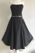 Per Una Black Dress Fitted Bodice Flared Skirt Size  12L