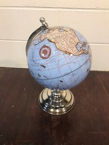 "8"" World Globe with chrome Stand 2019 Decorative Office Geography School"