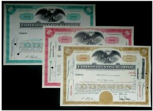 3-COLOR SET OF USG (United States Gypsum) STOCKS! FINE ABN ENGRAVING! BEST PRICE