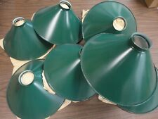 Set of Eight Green Metal Fixture Shades - Hanging - Vintage Shop Lighting - Nos