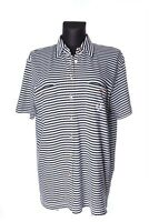 Women's BOGNER B&W Striped Cotton Button Front Short Sleeve Top Size 42