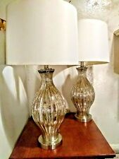Lot of 2 Vintiage Speckled Glass Table Lamps