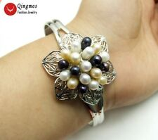 Natural Rice Multicolor Pearl Flower Silver Plate Open Cuff Bracelet Jewelry 437