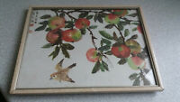 VINTAGE CHINESE  / JA[PANESE SIGNED FRAMED PICTURE- BIRDS / APPLES FRUIT -10 1/2