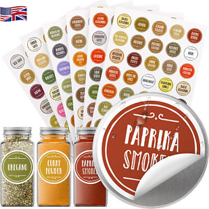 """Vinta 200+ Color-Coded Spice Jar Labels Stickers Waterproof Round 1.5"""" (38 mm)"""