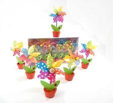 Set di 6 SPINNING Mulino a vento in Fiore pianta pot decorazione del giardino per bambini giocattolo