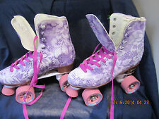 Women Size 6 Floral Purple & White Heel to toe 9 3/16in. Roller Skates