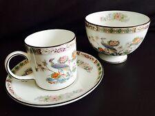 Vintage 1971 Wedgwood Bone China Kutani Crane Demitasse Cup, Saucer & Sugar Bowl