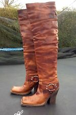 DIOR BIKER TIGH HIGH BROWN LEATHER BOOTS 39.5 UK6.5
