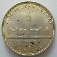 CANADA 1939 SILVER KING GEORGE VI AU 55 DOLLAR COIN - A