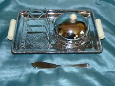 More details for period art deco breakfast set chrome & bakelite toast rack & butter dish on tray