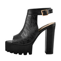 Onlymaker Womens Peep Toe Platform Ankle Strap Chunky High Heel Sandals Pumps