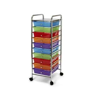 10-Drawer Storage Organizer Cart Wheels Removable Top Tray
