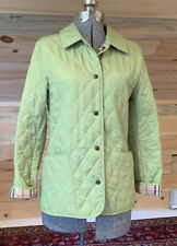 Burberry London Diamond Quilted Snap Jacket WASABI GREEN Nova Check Lining XS