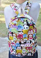 "disney tsum tsum mickey minnie canvas zip backpack 12"" shoulder bag small size"