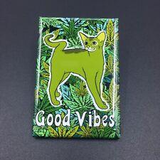 Green Cat Cannabis Magnet Funny 420 Marijuana Kitty Weed Kitchen Home Decor