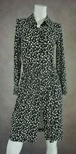 Shirt Dress Size 10 Laura Ashley Black White Floral Belted Front Button Up Dress