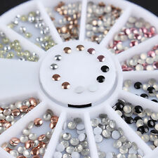 2mm 3D Nail Art Studs Stickers Colorful Nail Decoration Wheel Manicure
