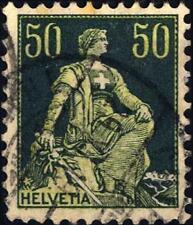 """SVIZZERA - 1908 - Allegoria dell'""""Helvetia"""" - 50 cent. verde e verde chiaro"""