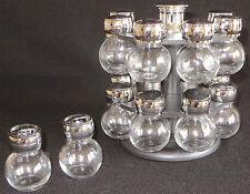 Sixteen Glass Silver Black Screw Top Shaker Spice Jar Set Swivel Carousel Base
