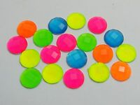 100 Mixed Neon Color Flatback Acrylic Round Rhinestone Gems 10mm No Hole