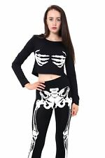 Women Skelton Print Halloween Fancy T shirt Leggings Blouse Ladies UK Size 8-22