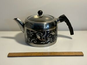 Quality Stainless Steel Black Floral Tea Kettle with Glass Lid by Red Kitchen