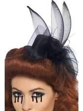 Sombrero Tocado Pluma & Velo ,Negro, Disfraz de Halloween Accesorios