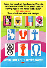 Original 1970 Abercrombie & Fitch Poster Kite Advertisement MOD Hippie Retro!