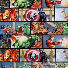 BonEful Fabric FQ Cotton Quilt Super Hero HULK Captain America Comic RARE SCRAP