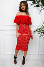 Glamzam Womens Ladies Red Lace Off Shoulder Bardot Frill Midi Bodycon Dress