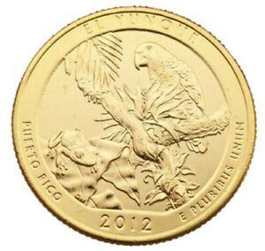 2012 EL YUNQUE 24KT GOLD PLATED QUARTER (D)