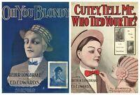 1909 & 1910 Large Format Illustrated Sheet Music by Longbrake & Edwards
