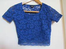 Topshop Blue Stretch Floral Lace Crop Top in Size 8